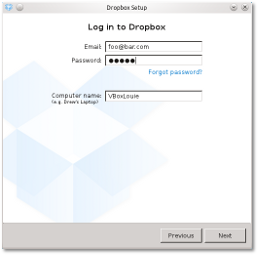 Dropbox application setup dialog 2